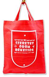 Bevásárló táska -Szeretet, öröm, békesség (piros)